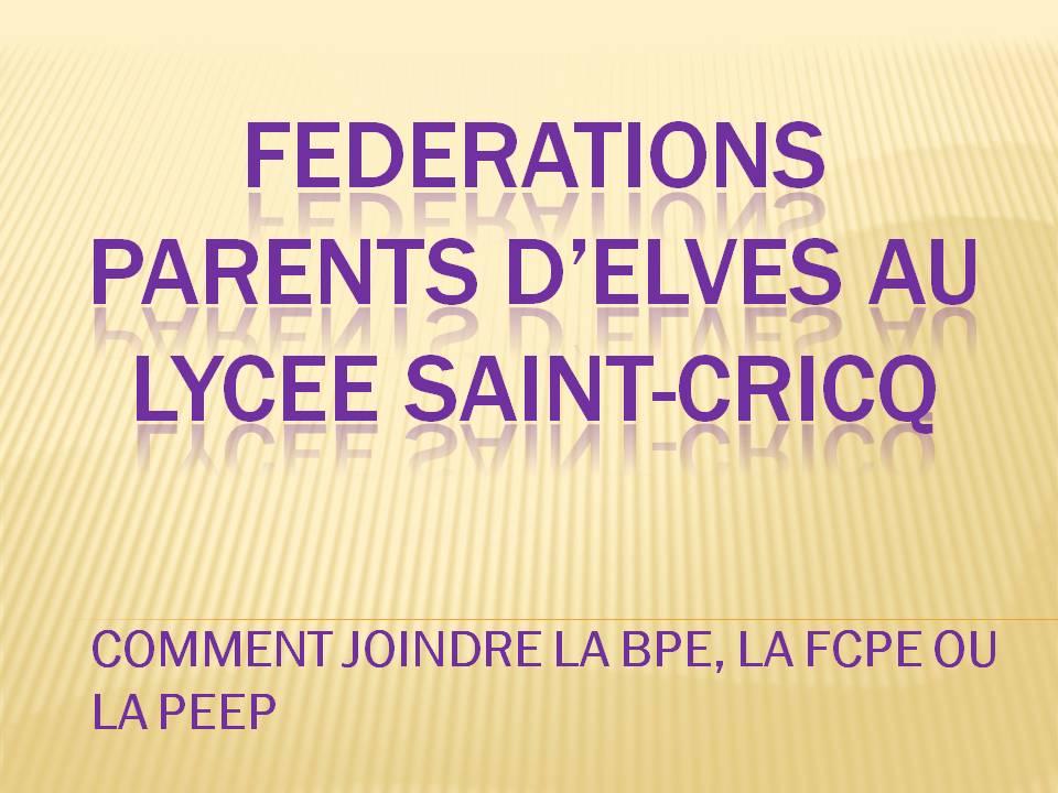 FEDERATIONS DE PARENTS D'ELEVES